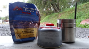 freeze dried food, cooking fuel, cook pot