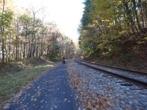 riding along side the Western Maryland Railroad on the GAP Trail between Frostburg, MD and Cumberland, MD