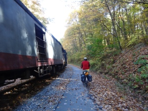 riding along side the Western Maryland Railroad between Frostburg, MD and Cumberland, MD