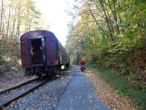 Riding the GAP Trail along side the Western Maryland Railroad taking passengers from Frostburg, MD to Cumberland, MD