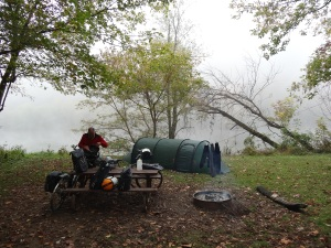 fog on the Potomac at Town Creek camping on the C & O Canal Path