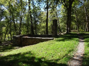 foundation of a lock house on the C & O Canal Path