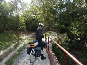 riding along one of the locks on the C & O Canal Path