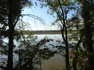 view of the Potomac River from the C & O Canal Path near mile marker 25