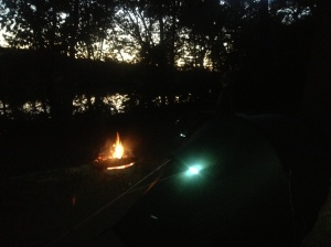 campfire at Horspen Branch camping area on the C & O Canal Path