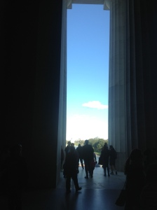 looking out from the Lincoln Memorial, Washington, DC